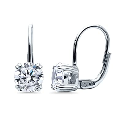 344330be3ba17 BERRICLE Rhodium Plated Sterling Silver Cubic Zirconia CZ Solitaire  Leverback Dangle Drop Earrings