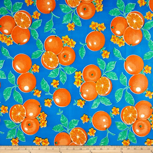 Oilcloth Oranges Blue Fabric By The Yard