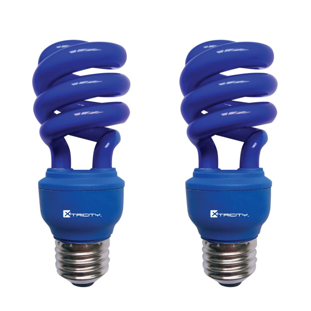 Xtricity 13-Watt Compact Fluorescent T2 CFL Spiral Colored Light (60 Watt Incandescent Equivalent) E26 Medium Base - Energy Saver (Blue, Pack of 2) by Xtricity