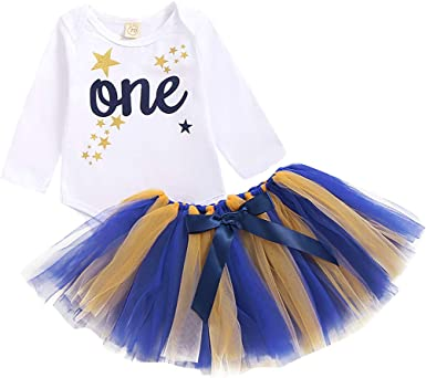 Fashion Kids Baby Girls 1st Birthday Tops Romper Tulle Tutu Skirt Dress Outfits