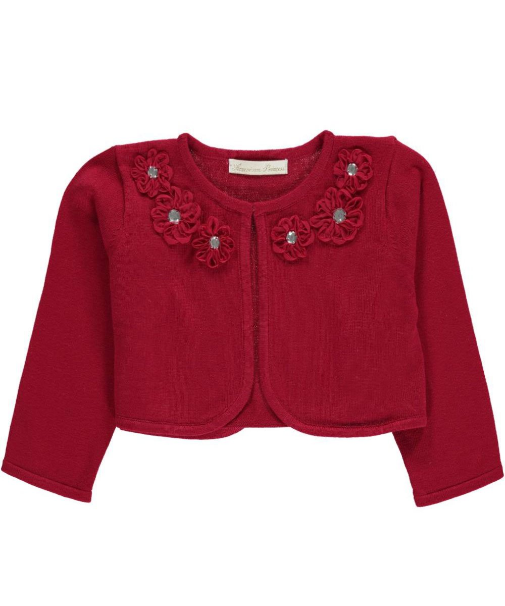 American Princess girls Flower Neckline Cardigan Sweater 4t