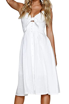592af217aa53 Jennyarn Spaghetti Strap V Neck Backless Tie Front Button Down Midi Dress  for Women White S