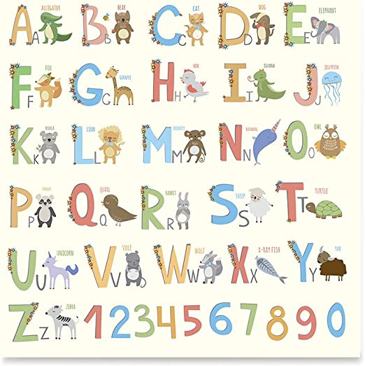 Amazon Com Ezposterprints Coloured Cute Animal Kids Alphabet Posters Poster Printing Wall Art Print For Home Office Decor Animals Name 24x24 Inches Posters Prints