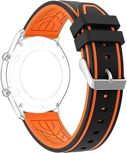 Correa para Samsung Gear S3 Frontier, Rosa Schleife Correa Deportiva de Silicona Suave Reemplazo Banda de Reloj Deportivo Sport Band Wristband para Samsung Gear S3 Frontier /S3 Classic Negro & Naranja: Amazon.es: