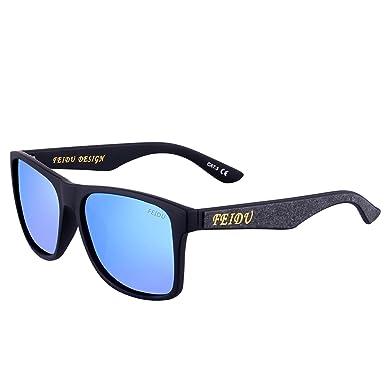 FEIDU Herren Sonnenbrille schwarz Schwarz lx9Rtay