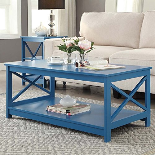 Convenience Concepts Oxford Coffee Table Blue Home Decor