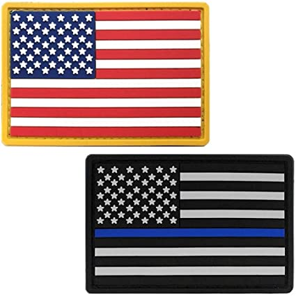 US Flag Patch PVC with Hook Red White Blue American Military Army Uniform