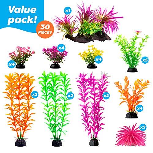 Aquarium Decorations 20 Or 23 Pack Lifelike Plastic Decor Fish Tank Plants, Small to Large (30 Pack)