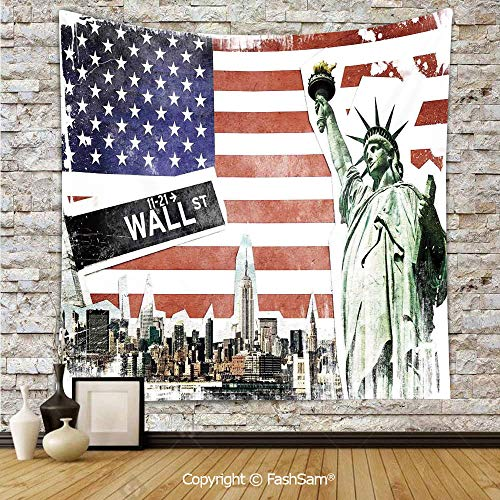 FashSam Polyester Tapestry Wall NYC Collage with Famous Monuments Wall Street and Manhattan Urban Display Hanging Printed Home Decor(W39xL59)