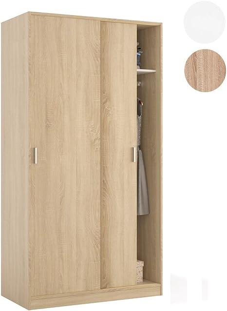 Habitdesign MAX019F - Armario Dos Puertas correderas, Color Roble Canadian, Medidas: 100x200x50 cm de Fondo: Amazon.es: Hogar