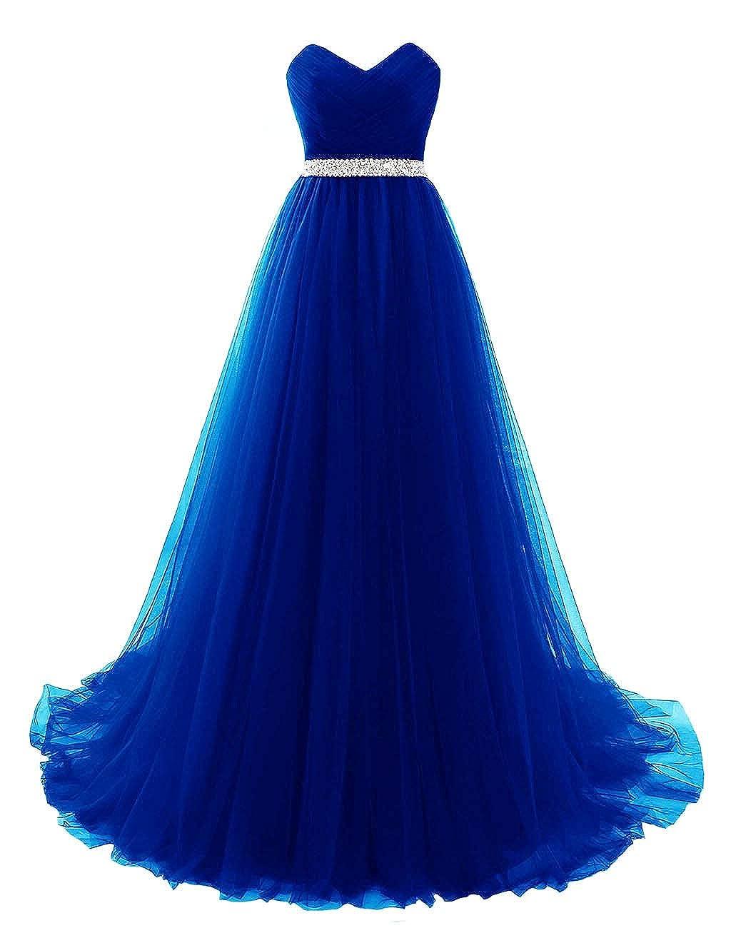 bluee Vantexi Women's Sweetheart Beaded Belt Tulle Evening Prom Dresses