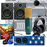 Presonus AudioBox + MXL V67 G Mic + Mackie CR4 + Mic Stand Home Recording Bundle Studio