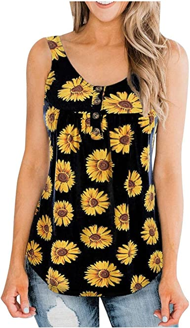 Sunflower T-Shirt for Women Plus Size Short Sleeved Sleeveless Blouse Tops Tank