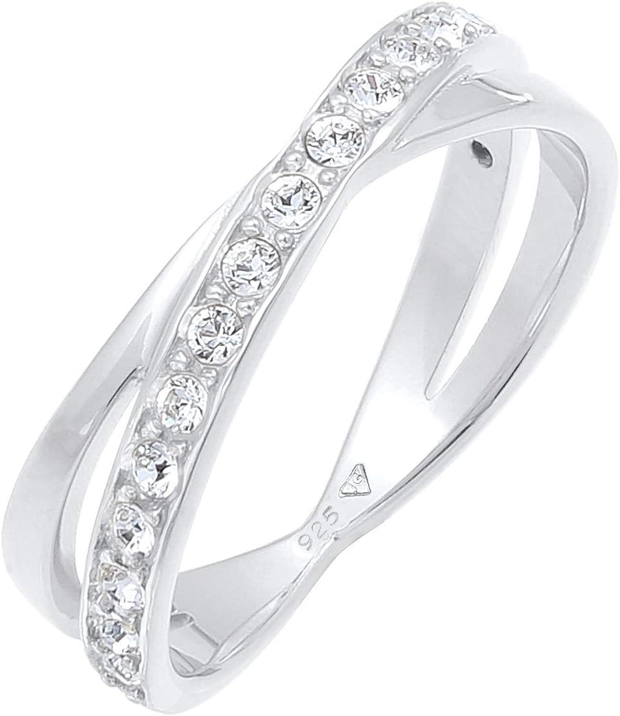 Elli Anillos Envoltura Elegante con Cristales Swarovski en Plata Esterlina 925