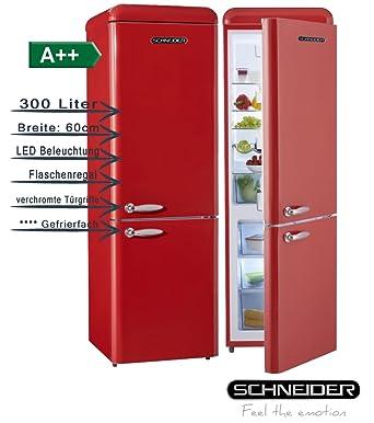 Schneider SL300B Retro Design Kühl Gefrier Kombination EEK: A++ 60cm Breit,  300 Liter 4**** Gefrierteil 190cm Hoch (Feuerrot Glänzend): Amazon.de:  Elektro  ...