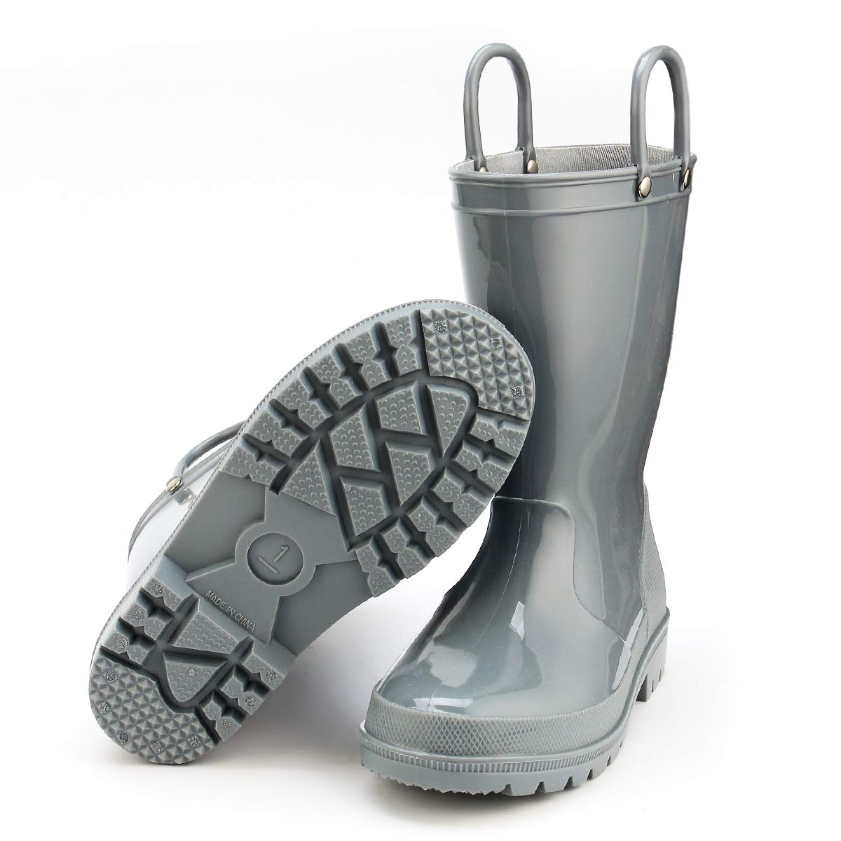 KomForme Kids Rain Boots, Environmental Material Boots with Memory Foam Insole and Easy-on Handles Grey by KKomForme (Image #4)