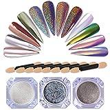 NICOLE DIARY 3 Boxes Holographic Laser Powder Rainbow Neon Chameleon Mermaid Mirror Rainbow Holo Nail Art Pigment Glitter Dust (0.5g/box) + 8 Pcs Eyeshadow Brush Makeup Brush Kit Replacement
