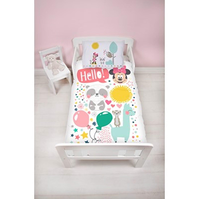 Disney Minnie Mouse Friends Panel Junior Cot Bed Duvet Quilt Cover Set