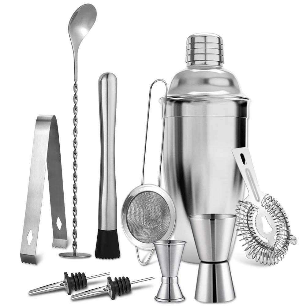 elabo 25oz Stainless Steel Cocktail Shaker- Cobbler Shaker- 10 Pcs Bar Tools Bartender Set with Stirring Spoon, Muddler, 2 Measuring Jiggers, 2 Pourers, Strainer, Filter and Ice Tongs