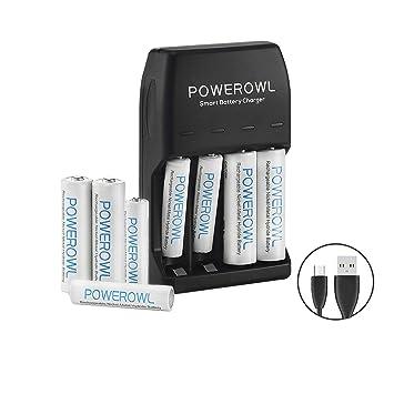 POWEROWL AA AAA Pilas Recargable Cargador Ni-MH Ni-CD con Luces LED, Paquete con 4 Pilas AA 2100mAh y 4 Pilas Recargables AAA 1000mAh (Incluido el ...