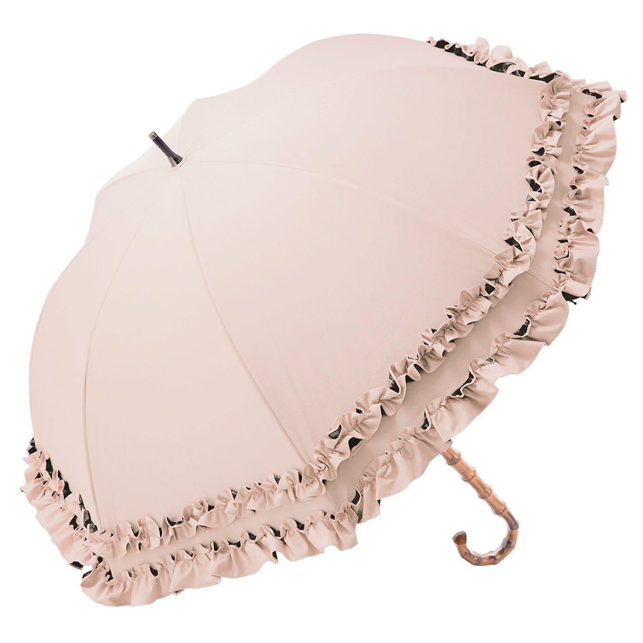【Rose Blanc】100%完全遮光 日傘 ダブルフリル ミドルサイズ 55cm (ピンク) B07CBZS26F ピンク