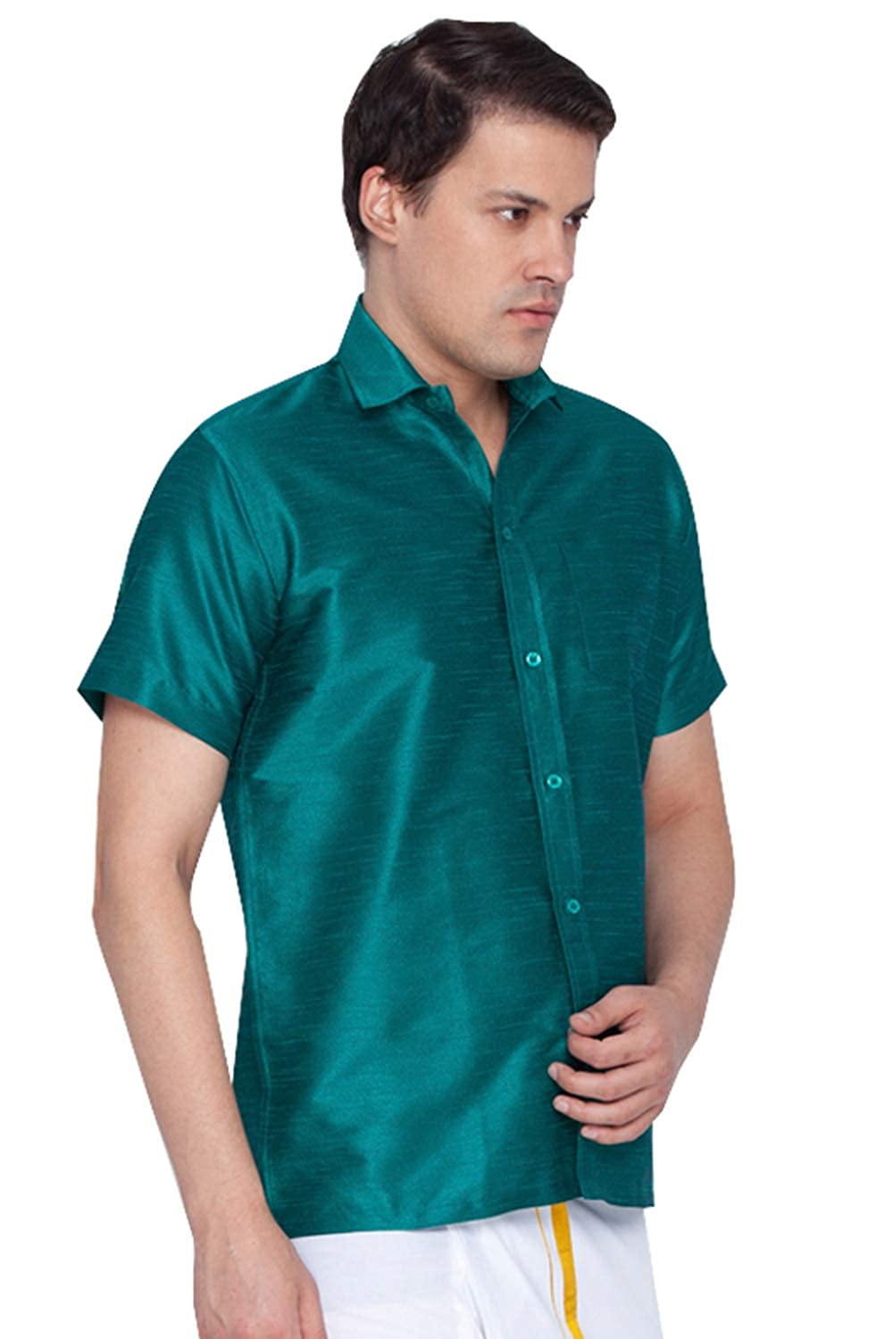 d1b1c947a3d74a Vastramay Men Green Cotton Silk Ethnic Shirt (VASMSH001GN)  Amazon.in   Clothing   Accessories