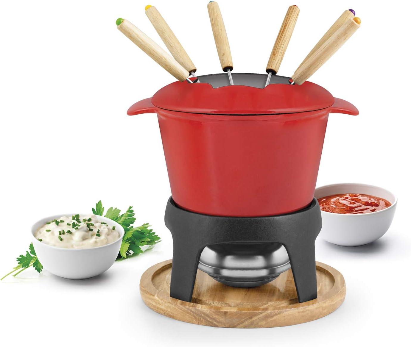 H&H 728181 - Servicio de fondue de hierro fundido, 11 piezas ...