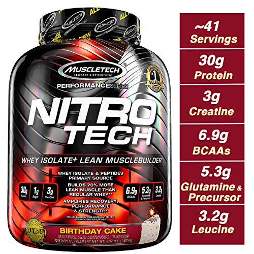 Muscletech Performance Series Nitrotech Whey Protein Peptides Isolate 30g Protein 1g Sugar 3g Creatine 6 9 BCAAs 5 3g Glutamine Precursor Post Workout 3 97lbs 1 8kg Birthday Cake