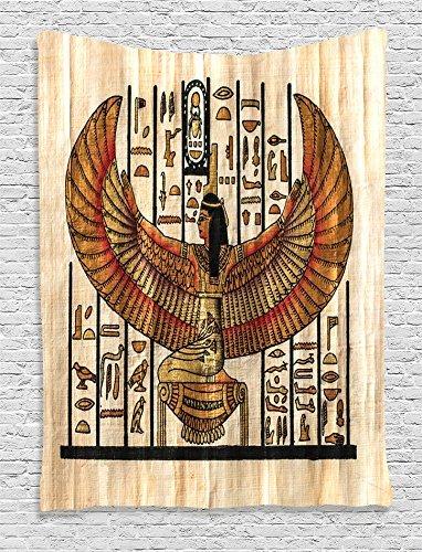 ambesonne egipcio Decor Collection, antiguo Egipto Faraón con una máscara de Anubis de niebla Impresión