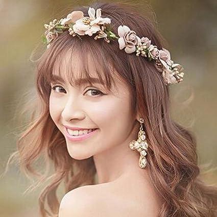 Simsly matrimonio moda rosa fiore floreale corona coroncina e accessori per  spose e damigelle fs- 08123b268cc6