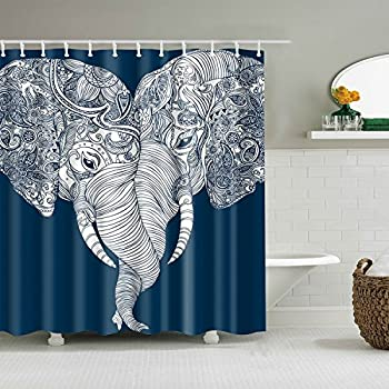 Cute Bohemian Elephant Shower Curtain   Boho Style Elephant Themed Love  Bathroom Curtains, Fabric, 72x72, White And Navy Blue