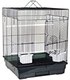 Blue Ribbon Square Style Roof Bird Cage, 18-Inch by 18-Inch by 22-Inch, Black/Smoke