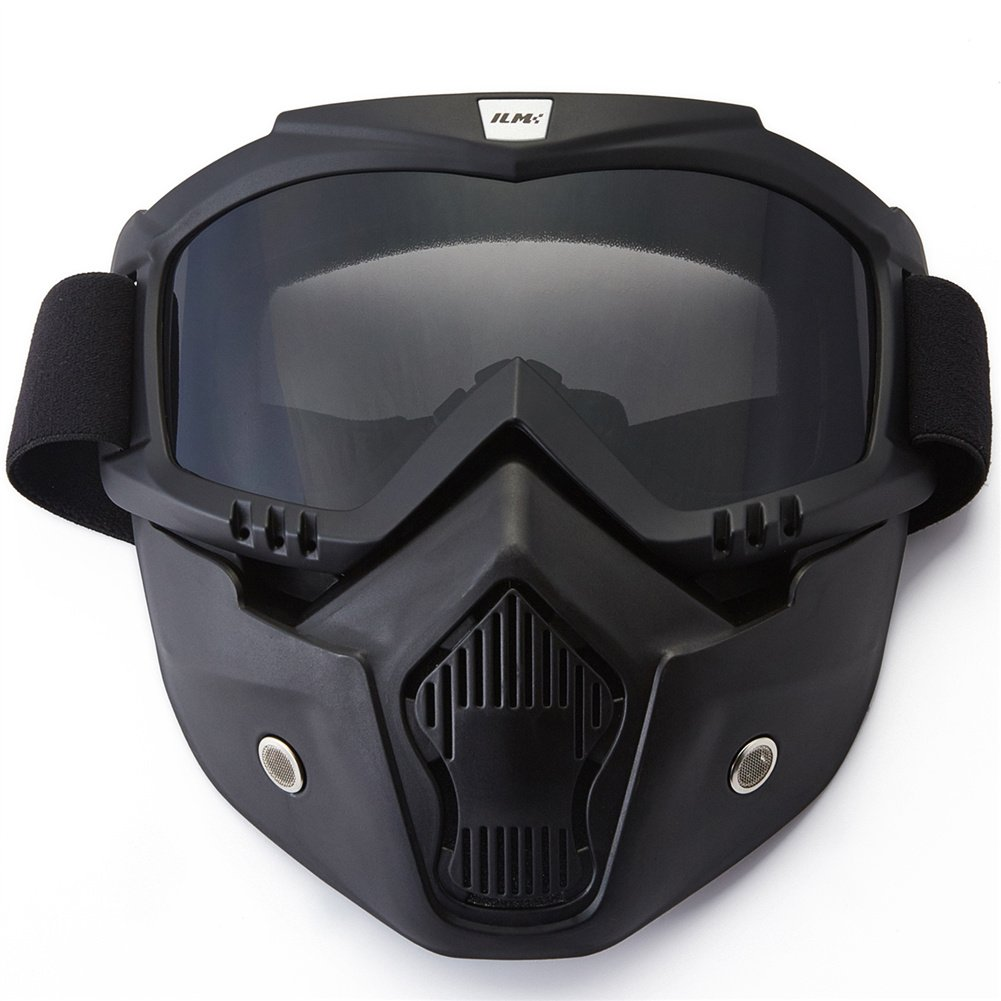 ILM Motorcycle Helmet Riding Goggles Glasses With Removable Face Mask Fits for Powersports Airsoft Paintball (Black)