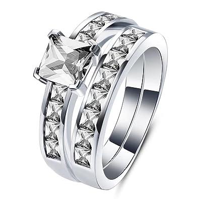 Amazon Com Fendina Couples Ring Sets 1 25 Carat Princess Cut