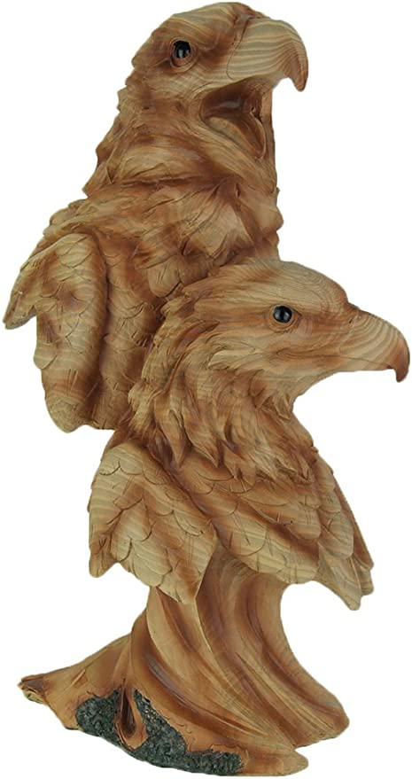 Zeckos Faux Carved Flying Eagle Wood Look Statue