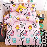 LuDan 3pcs Kids Bedding Set owl Cartoon One Duvet Cover Without Comforter One Flat Sheet Two Pillowcases Twin Full Queen King for Kids Teens Happy Owl Forest Design (Pink, King)