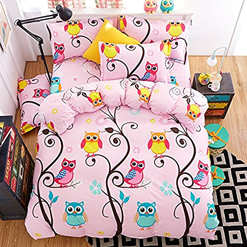 LuDan 3pcs Kids Bedding Set owl Cartoon One Duvet Cover Without Comforter One Flat Sheet Two Pillowcases Twin Full Queen King for Kids Teens Happy Owl Forest Design (Pink, King) by LuDan