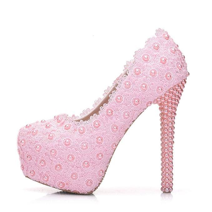 Zapatos Moojm Sandalias Alto De Perlas Tacón Encaje Blanco Mujer WE29IDH