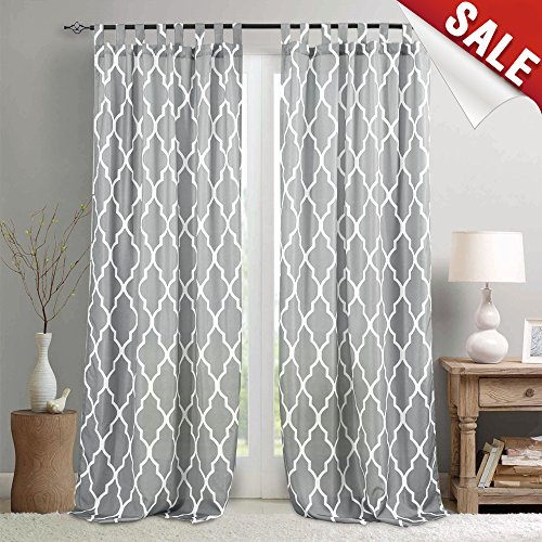 (Moroccan Tile Printed Curtains for Living Room 95 Inches Long Trellis Lattice Quatrefoil Print Water Repellent Tab Top Canvas Curtain Panels for Bedroom, 1 Panel, Soft Grey)
