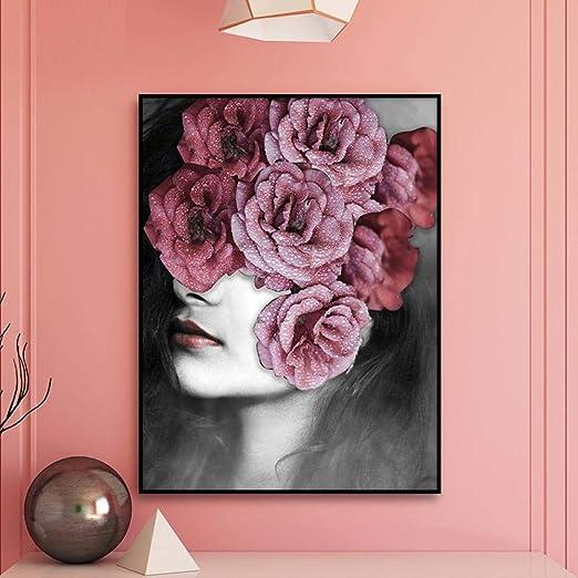 Rose flower girl lienzo imagen artística estilo nórdico ...