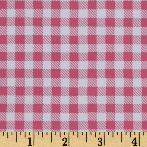Oilcloth Gingham Powder Pink Fabric By The Yard (Oilcloth Covering Floor)