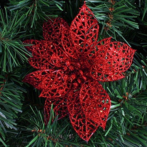 Star Flower Vintage (JEWH [5pcs 15CM Glitter Artificial Flowers - Christmas Tree Ornaments - Decorations Christmas - Decorations for Home (RED))