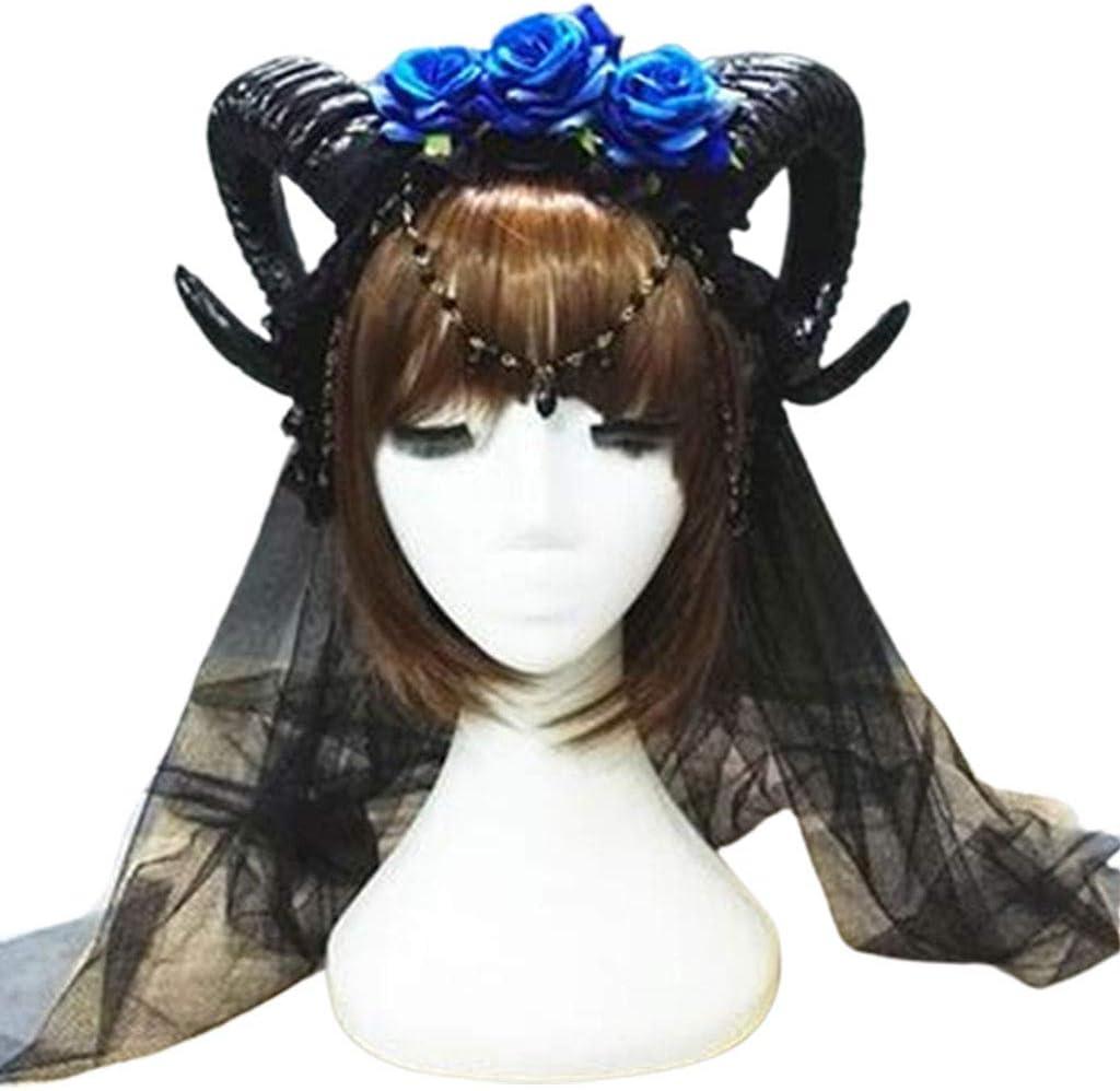 Cosplay Sheep Horn Floral Hair Band Halloween Gothic Costume Headband Headwear