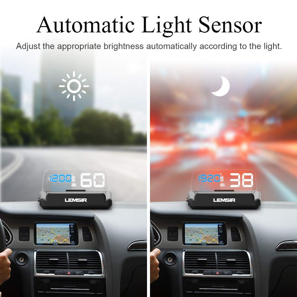 Head-Up Display, LEMSIR Car HUD Speedometer OBD II/EUOBD Interface with Foldable Display Board, Digital HD LED Projector Display Speed MPH Driving Reminder Alarm Light Sensor by LEMSIR (Image #4)