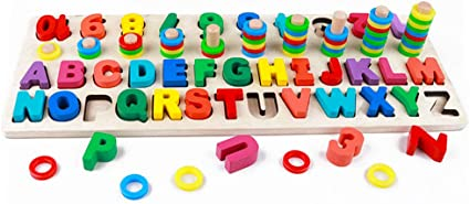 Kids Letters ABC Wood Block Puzzle Education Teach Building Wooden Blocks Toy