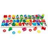 RUIDELI Wooden Blocks Puzzle Board Set Alphabet ABC, Learning & Educational Toys for Number Counting, Colors Stacking, Shape