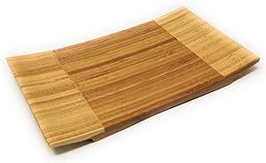 ASIAN HOME Sashimi Sushi Bamboo Curve Serving Geta Plate - Japanese Style Tableware Bamboo Sushi Board Cutting Tray (L10.6