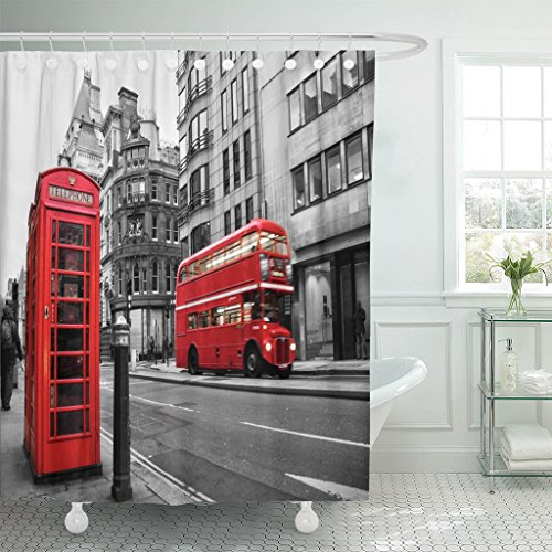 Emvency Waterproof Shower Curtain Curtains Black Bus Fleet Street London UK Selective Color Red White Phone Vintage Booth City 72