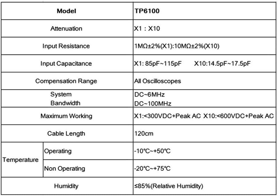 High Quality P6100 Oscilloscope Probe DC-6MHz DC-100MHz Scope Clip Probe/_vi