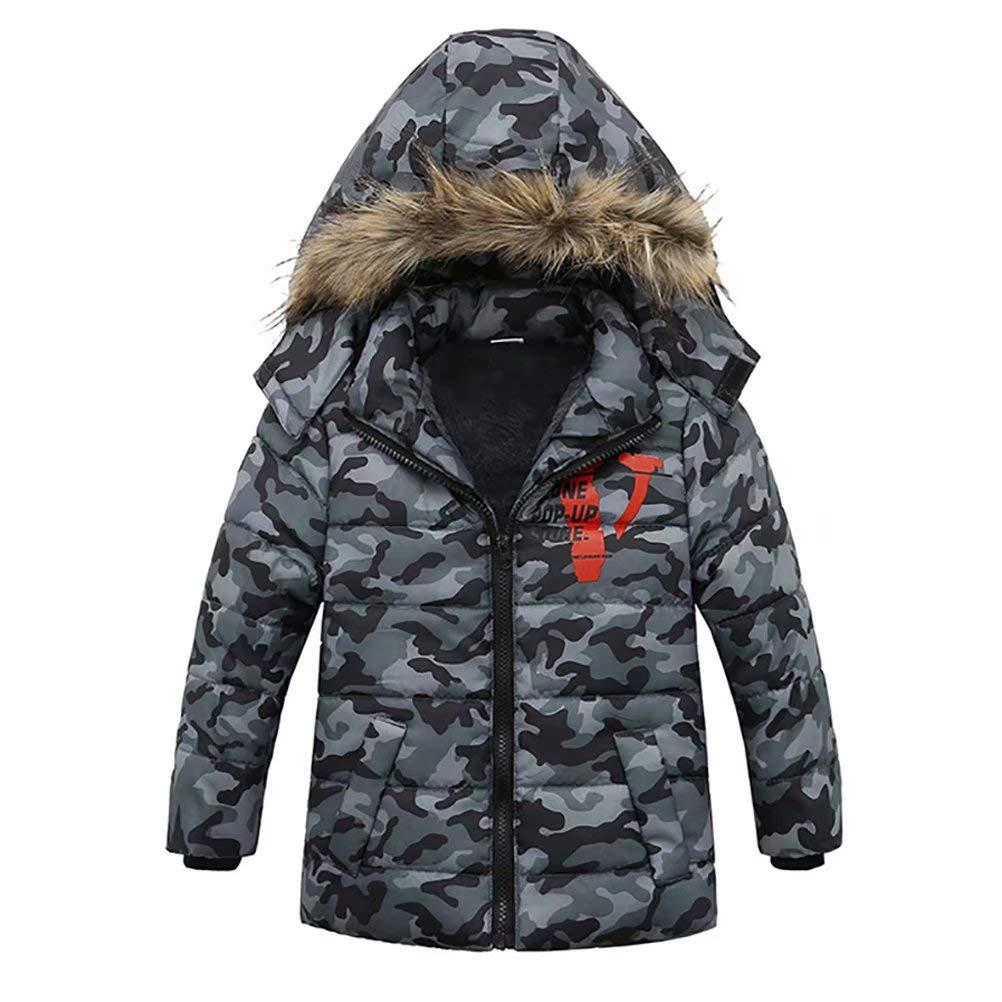 APE TEES Toddler Boys' Kids Winter Hooded Jacket Heavyweight Warm Coat